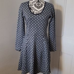 Boden fit and flare long sleeve dress cotton blend